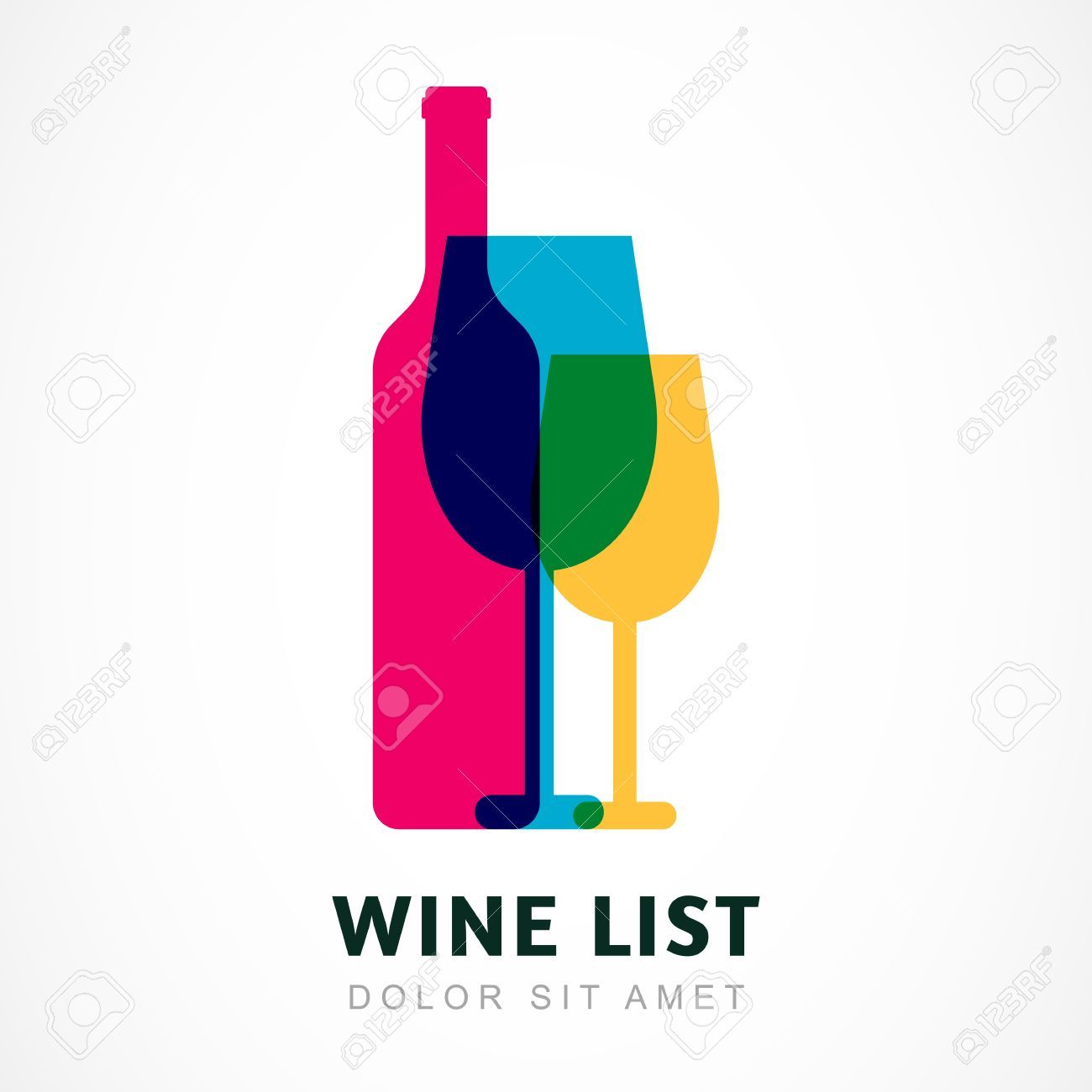 Abstract colorful logo design template. Wine bottle and