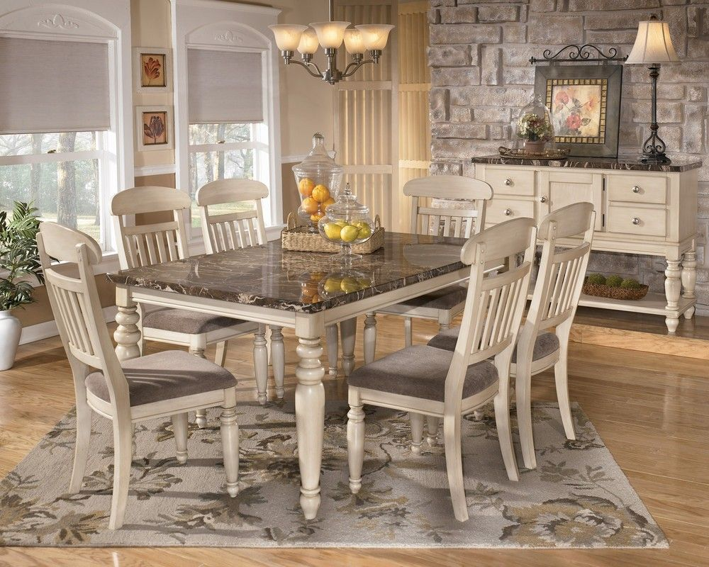 Vintage Dining Room Design Idea With 7 Piece Dining Set In