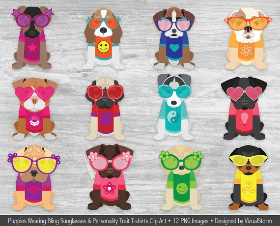 Fun Puppies Clipart Pets Wearing Sunglasses And T Shirts Etsy Puppy Clipart Dog Scrapbook Puppy Drawing