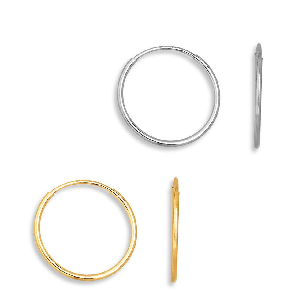 Details About Classic Endless Hoop Earrings Solid 14k Yellow & White Gold  10mm  18mm 20mm