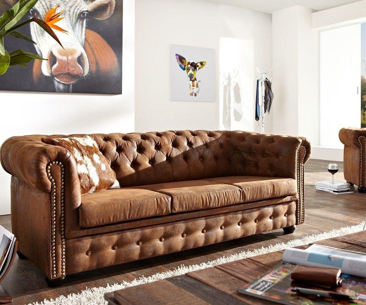 DELIFE Sofa Chesterfield 200x92 cm Braun 3-Sitzer, Chesterfields ...
