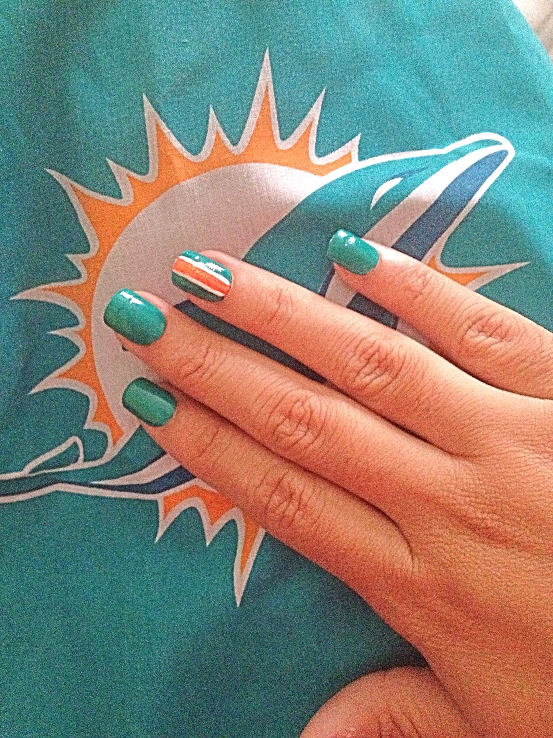 Miami Dolphins Inspired Nails Nails Pinterest Miami Dolphins