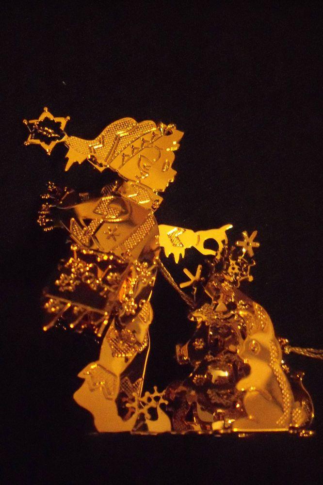 danbury mint 23 K gold  ornament  BOY DECORATING WOODLAND TREE