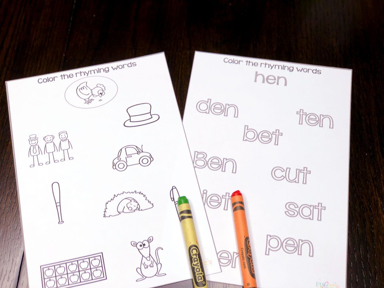 Color The Rhyming Words Hands On Rhyming Worksheets