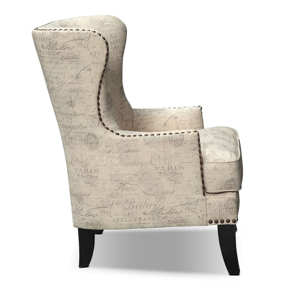 Marseille Accent Chair Cream And Black Value City Furniture