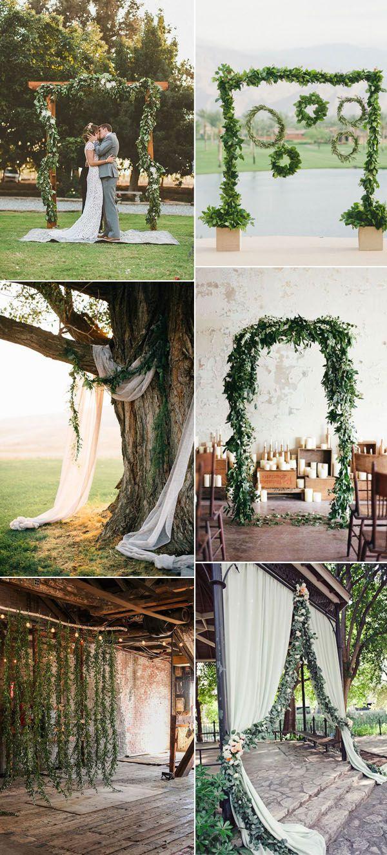 Ideas of wedding decorations   Gorgeous Greenery Garland Wedding Ideas For   Wedding altars
