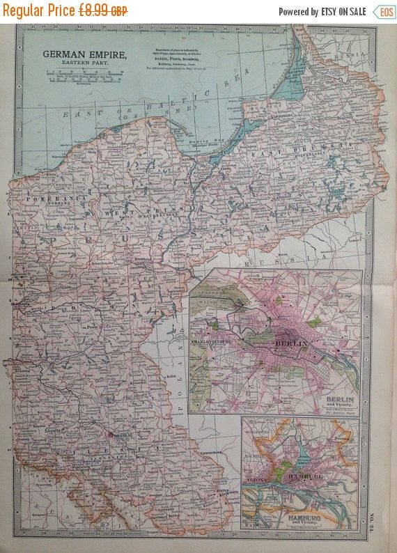 1903 GERMAN EMPIRE (Eastern part) Original Large Antique Map ...