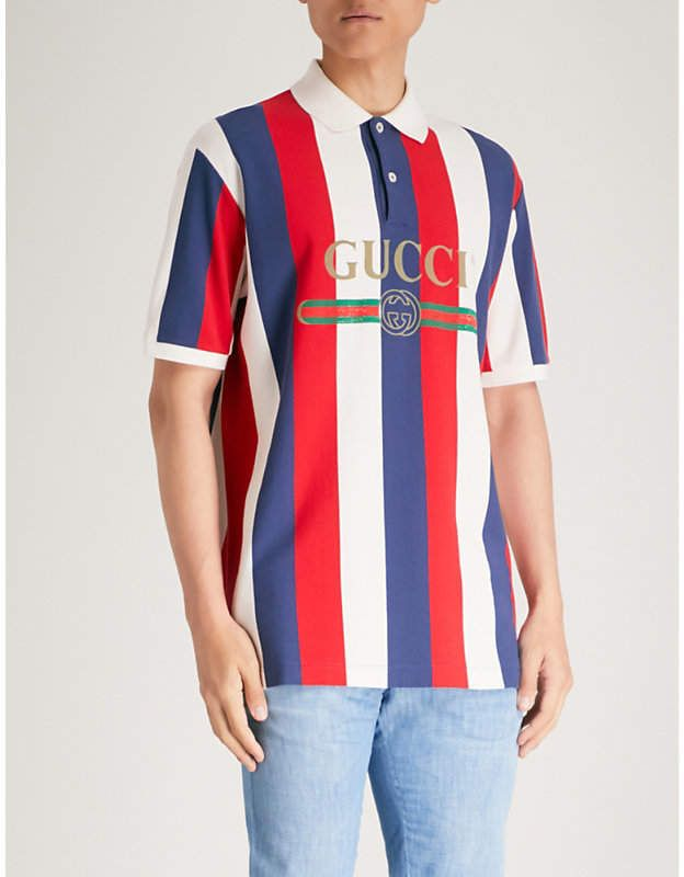 Gucci Baiadera Striped Cotton Pique Polo Shirt Products