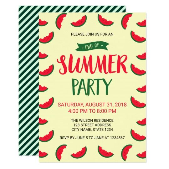 red green watermelon end of summer party invite in 2018 summer
