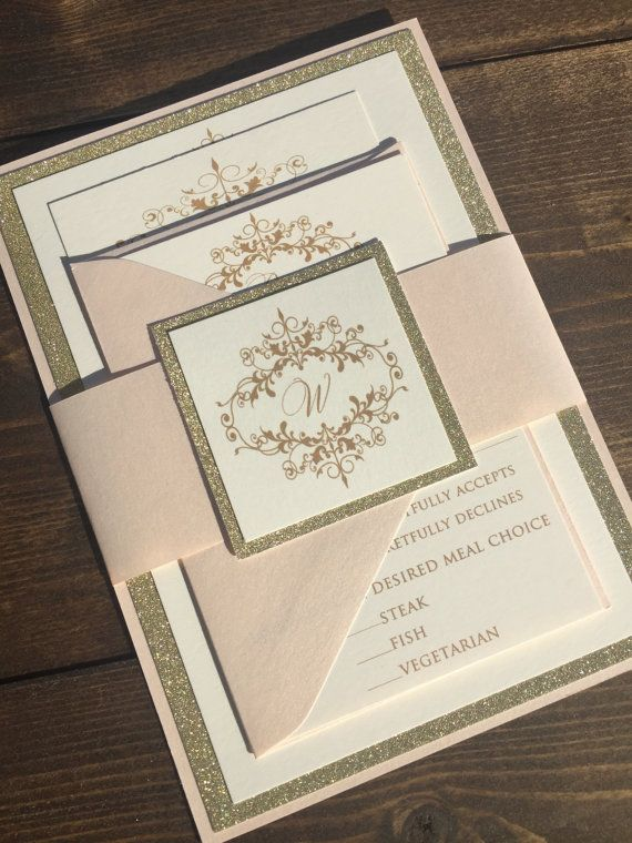 Glitter Wedding Invitations  Gold Wedding by JaxDesigns27 on Etsy
