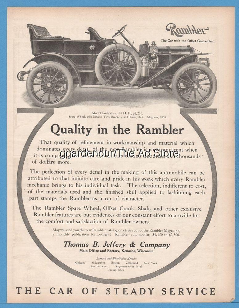 1909 Thomas B Jeffery Company Rambler Model 44 Vintage Motor Car ...