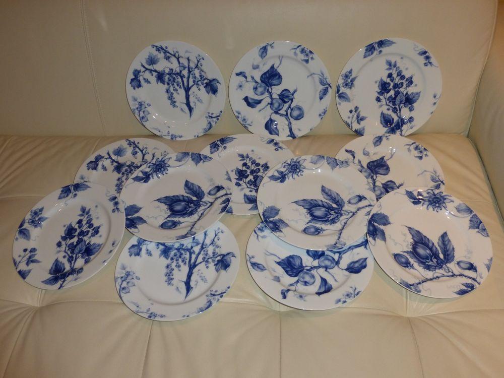 "WILLIAMS SONOMA ORMONDE BLUE Set of 12 Salad Plates- 9"" #WILLIAMSSONOMA"
