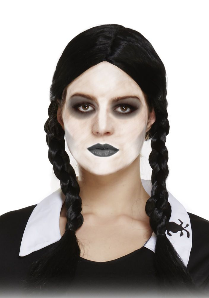 Black Plaited Halloween Wednesday Addams Schoolgirl Theme