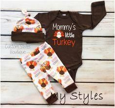 Baby Boys First Thanksgiving Outfit, Brown Infant Bodysuit, Leggings And Hat With Turkeys, Baby Boy-s Thanksgiving Outfit Set, Hospital Set #baby #organization