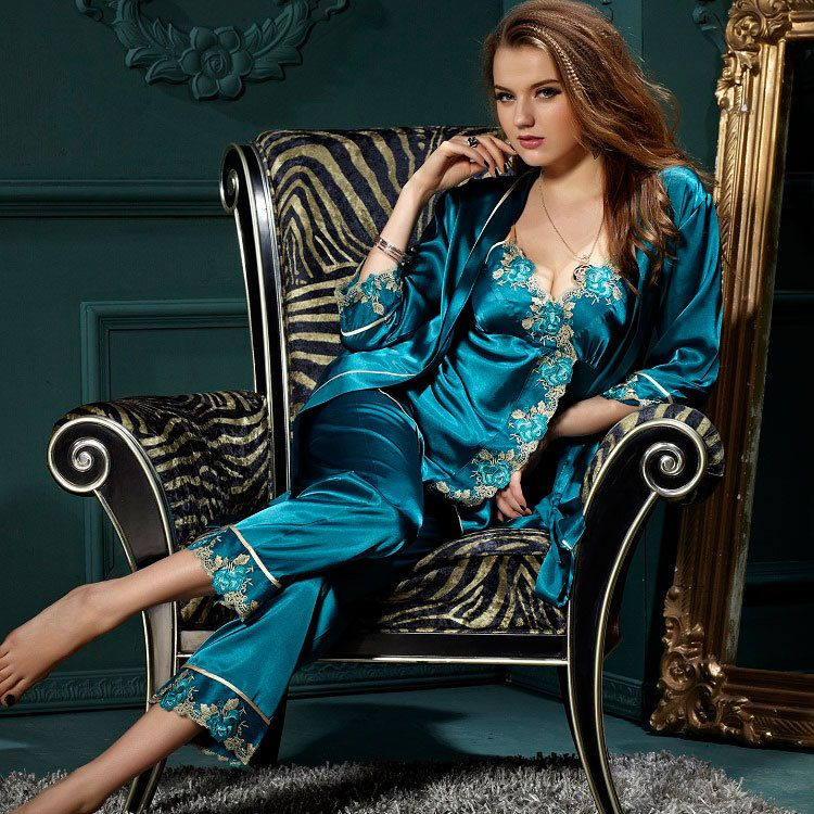 46d06dab78 women new 2014 sexy satin pajama sets sleep lounge pijama for women pyjamas  pajamas set sleepwear nightgown pijamas 3 pcs XXXL-in Pajama Sets from  Women s ...