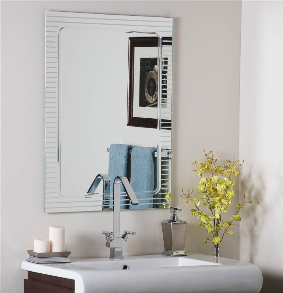 Frameless Wall Mirror Includes Mounting Hardware Unique Shape With