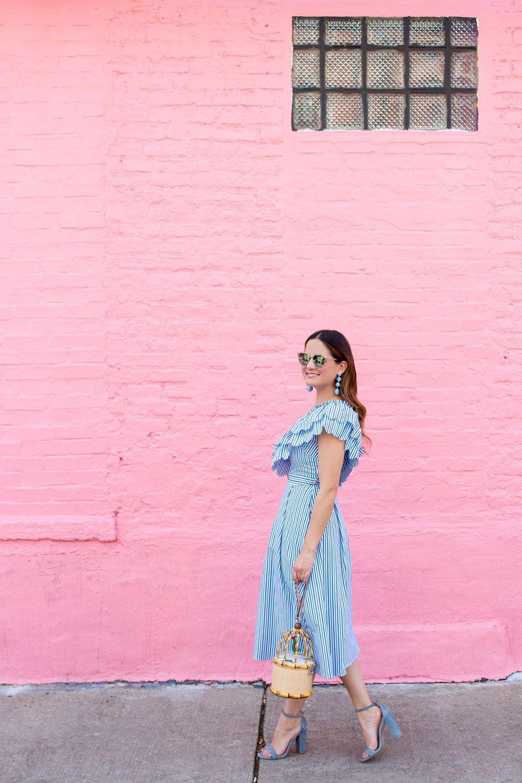 47d4e12c4a5592 Chicwish Blue Ruffle Scallop Dress at a Chicago Pink Wall