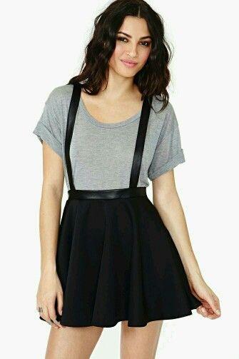 Gray Top With Black Skater Skirt  201d77499