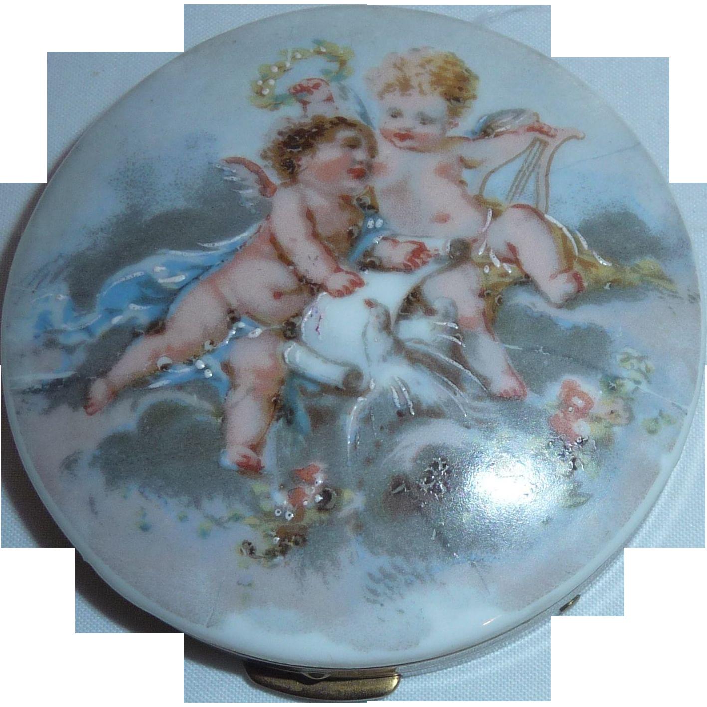 2 Cherub Angel Babies Powder Compact Hand Painted Porcelain