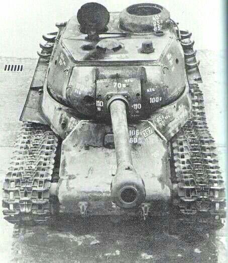 ИС -2  на немецком изучении с подписанной толщиной брони