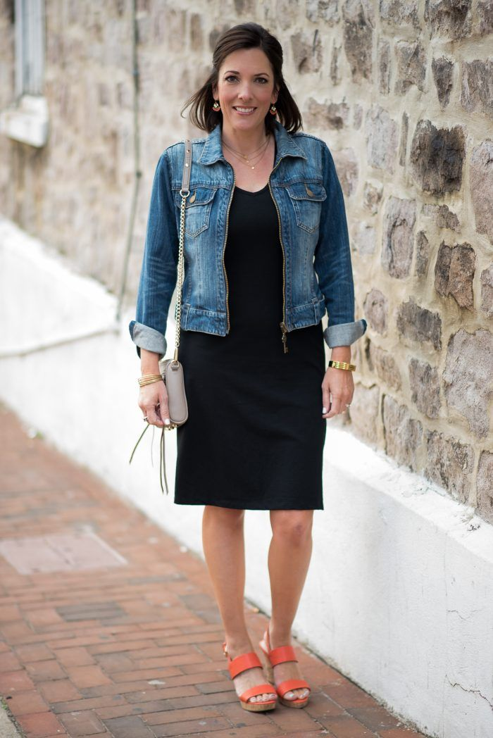 6b1ed95f55 Fashion for Women Over 40  Casual Black Dress Outfit with Orange Wedge  Sandals and Denim Jacket