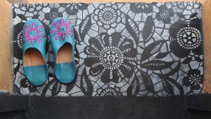 beautiful stencil design for a mudroom floor. or a bathroom floor.