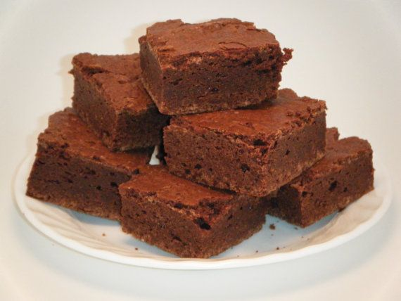 Thick and fudgy Chewy Brownies 1 doz. $15.00, via Etsy.