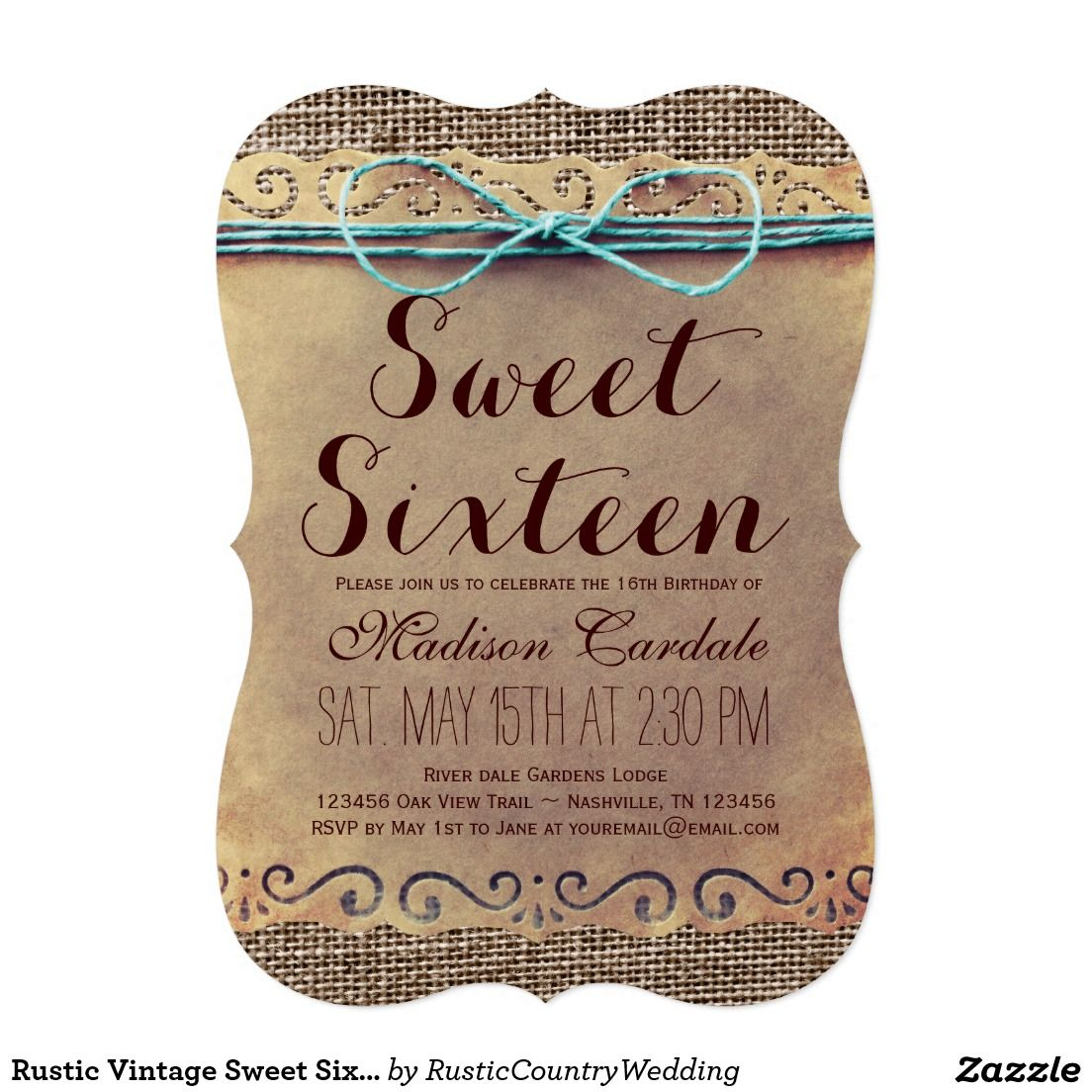 Rustic Vintage Sweet Sixteen Birthday Invitations Sweet16