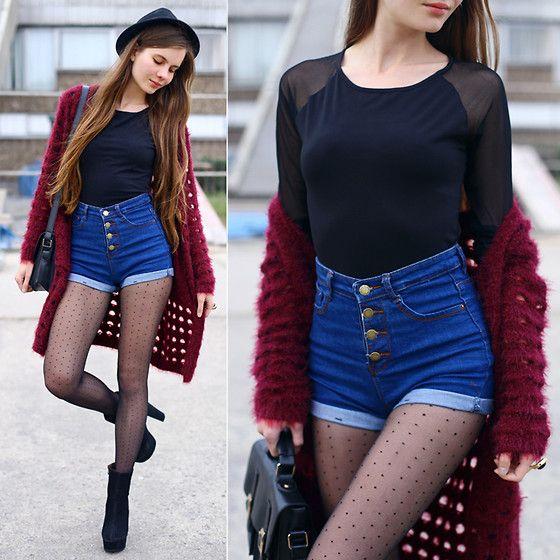 Get this look: http://lb.nu/look/6733322  More looks by Ariadna Majewska: http://lb.nu/ariadna92  Items in this look:  Burgundy Cardigan, Denim High Waisted Shorts, Black Postman Bag, Black Top   #grunge #minimal #street