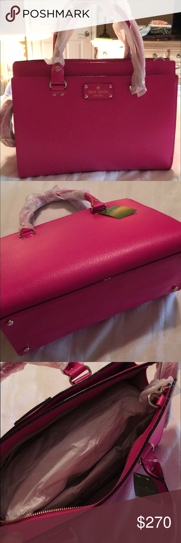 Kate Spade in Snapdragon! Brand new with tags Kate Spade leather purse! The color is Snapdragon kate spade Bags Shoulder Bags