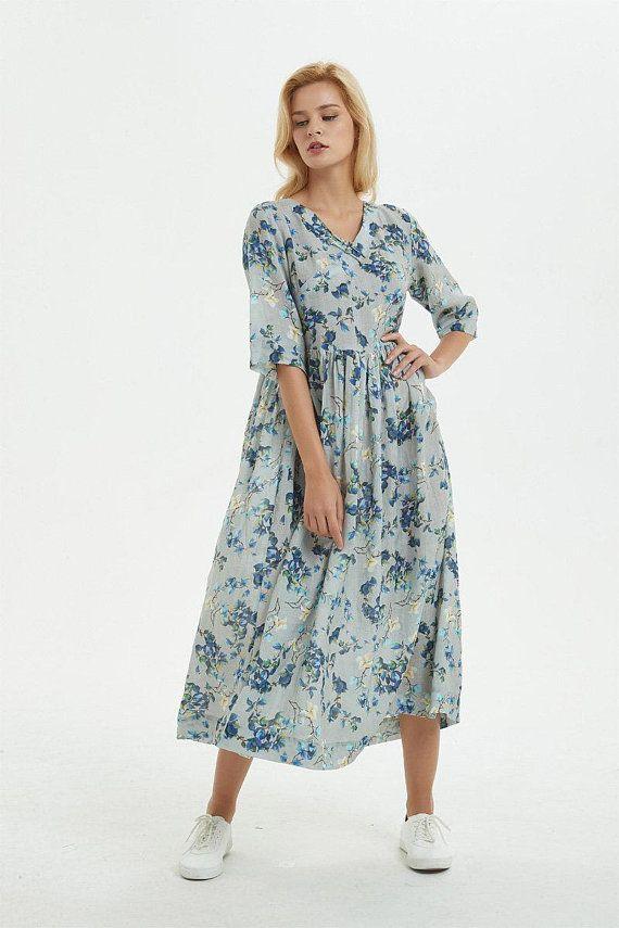 blue cotton dress, Printed princess dress, maxi cotton dress