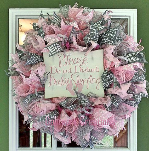 Baby Girl Wreath Hospital Door Wreath Baby Nursery Wreath Front