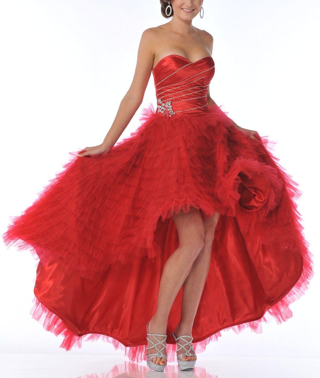 Zeilei Sweetheart Strapless Ruffle Pageant Prom Dress