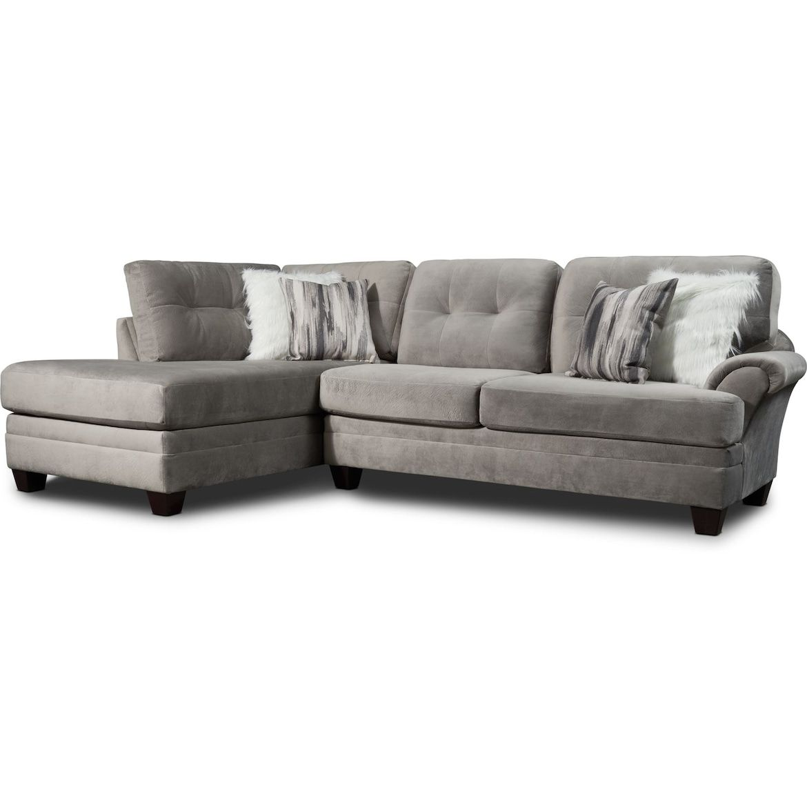 Cordelle 2 Piece Sectional With Chaise And Swivel Chair Set With Faux Fur Pillows American Signature Furni Value City Furniture Sectional Reclining Furniture 2 piece sectional sofa with chaise