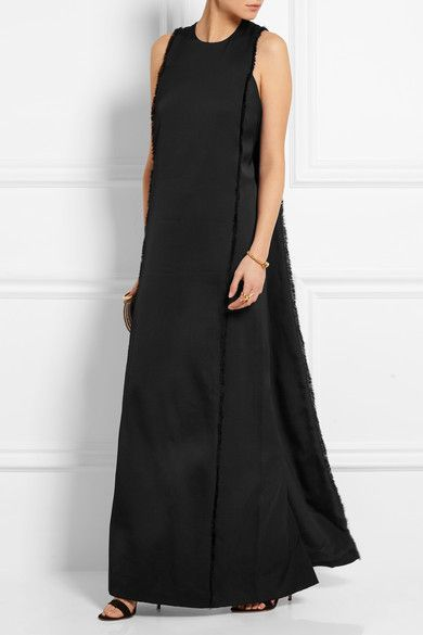 Cape-back fringed satin gown Edun k8GMS5Z9a