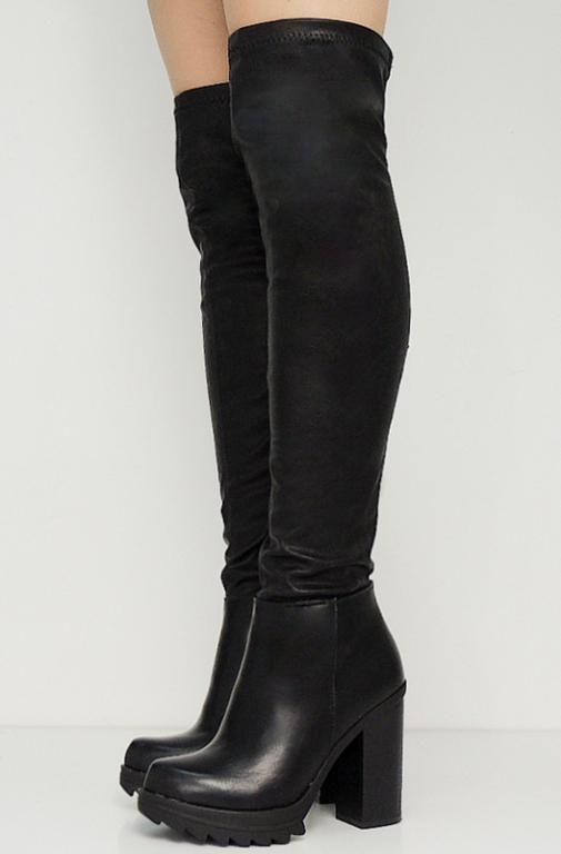 Muszkieterki Za Kolano Grunge Magi Czarne Boots Stiletto Boot Heels