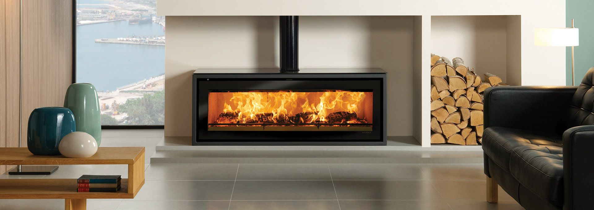 Linear Wood Freestanding Stovax Studio Stv3f Regency Fireplace