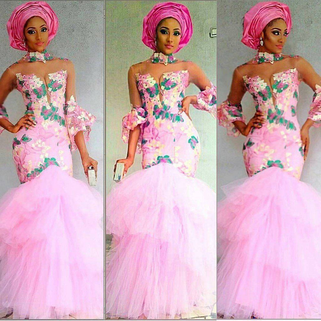 Pink lace gown | Aso Ebi Styles | Pinterest