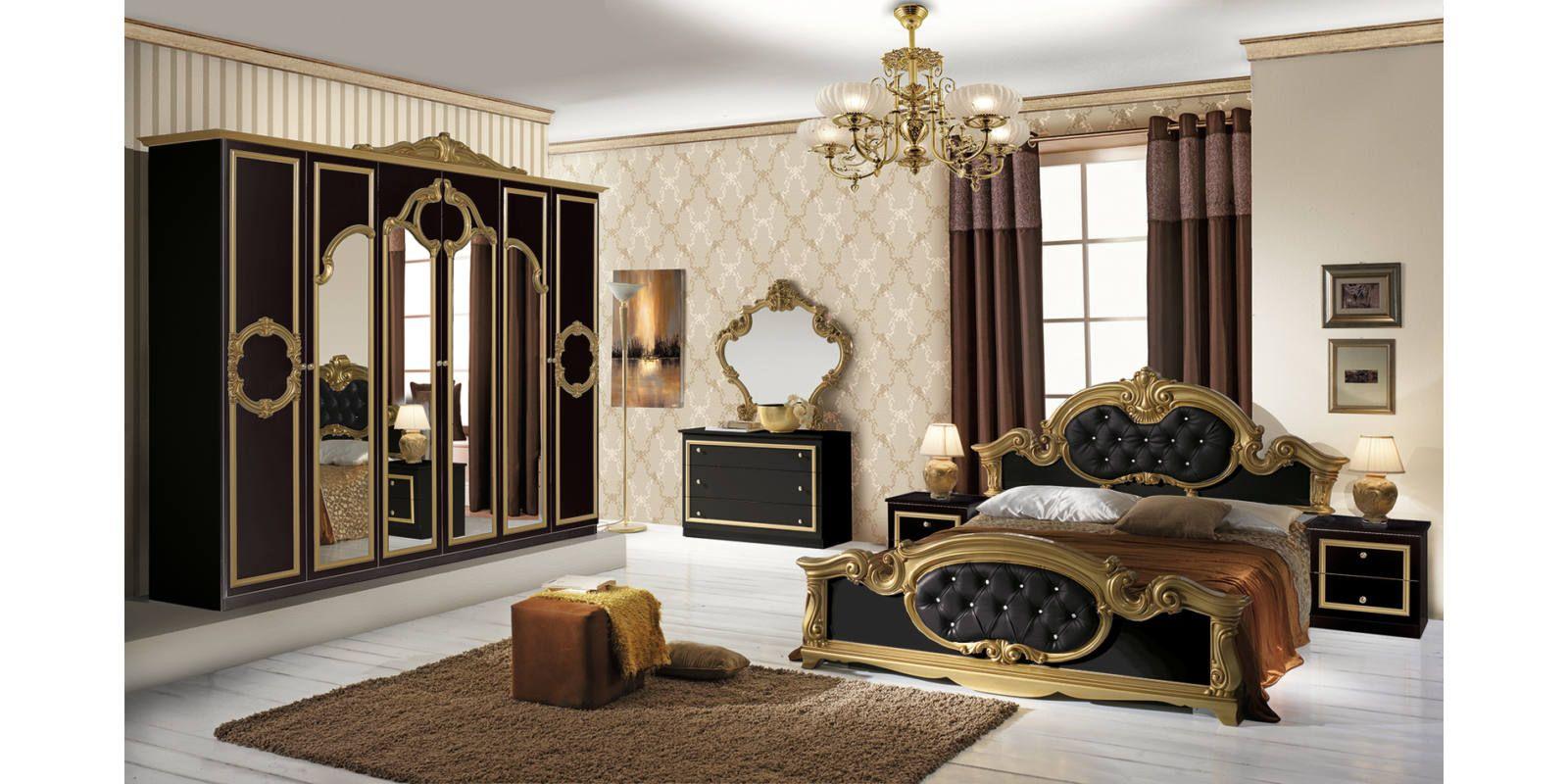 Barocco klasszikus olasz hálószoba garnitúra, fekete-arany színben ...