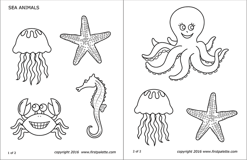 Sea Animals Free Printable Templates Coloring Pages Firstpalette Com Animal Printables Fun Crafts Sea Animals