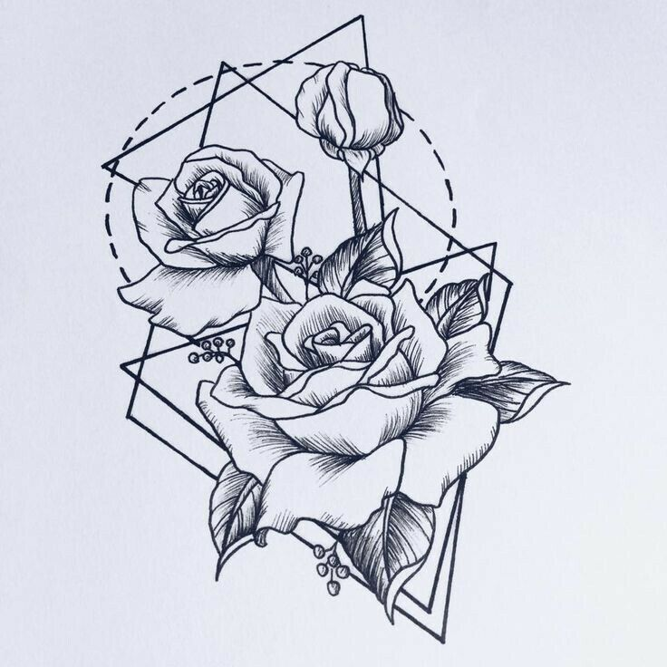 Black Line Drawing Tattoo : Geometric tattoo flower roses art pinterest