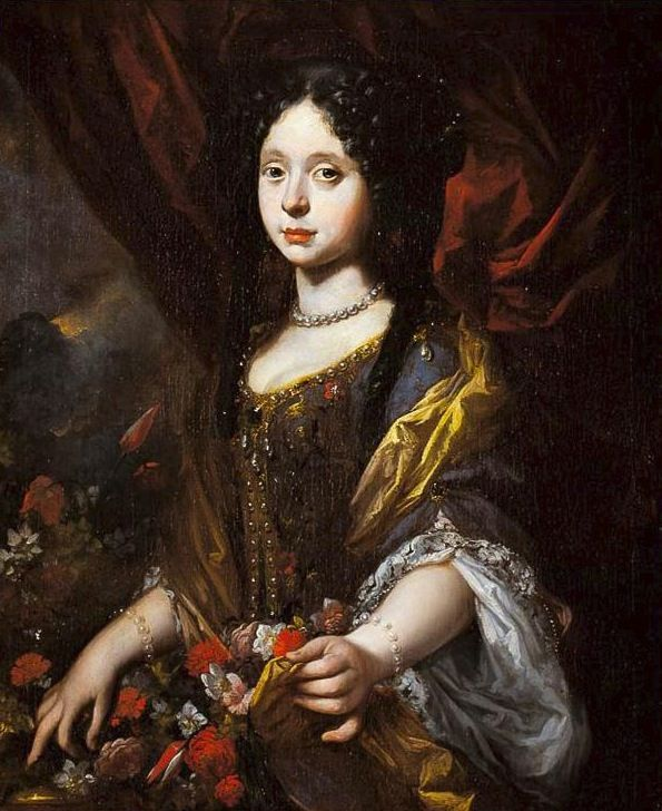 The Last Medici as a young woman - Anna Maria Luisa de' Medici  (1667-1743) artist - Antonio Franchi (Palazzo Pitti, Firenze Italy) painted 1680s - Maria Luisa wears a spectacular pearl-ornamented dress for this portrait that may have been used to advertise her to prospective spouses.