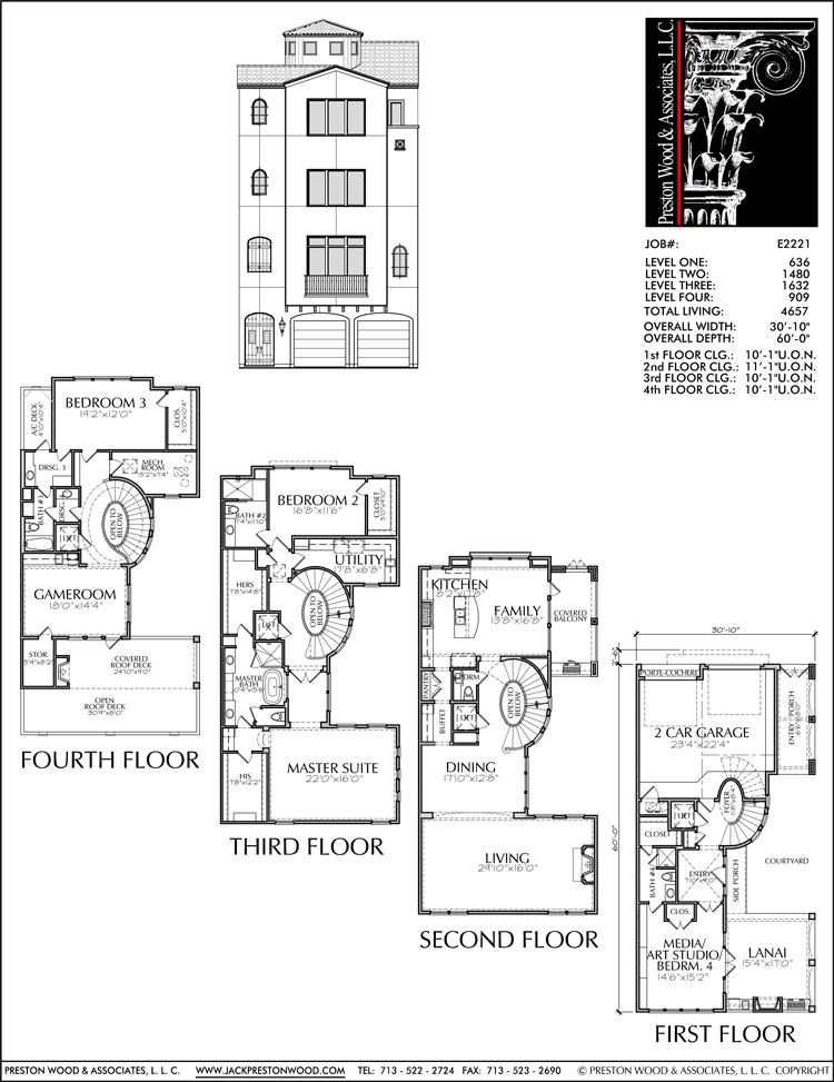 Four Story Townhouse Plan E2221 How To Plan House Floor Plans Modern House Plans
