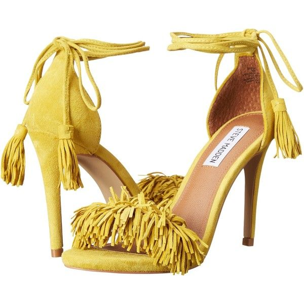 f3286d44497 Steve Madden Sassey (Yellow Suede) High Heels ( 100) ❤ liked on Polyvore  featuring shoes