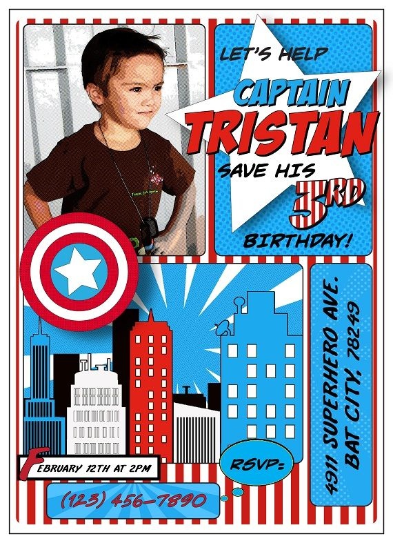 captain america inspired birthday party invitation ideas