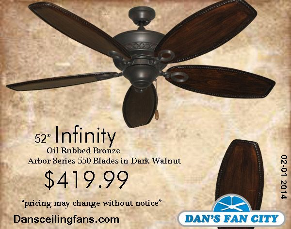 Infinity Oil Rubbed Bronze Ceiling Fan With 52 Series 550 Arbor Blades In Dark Walnut