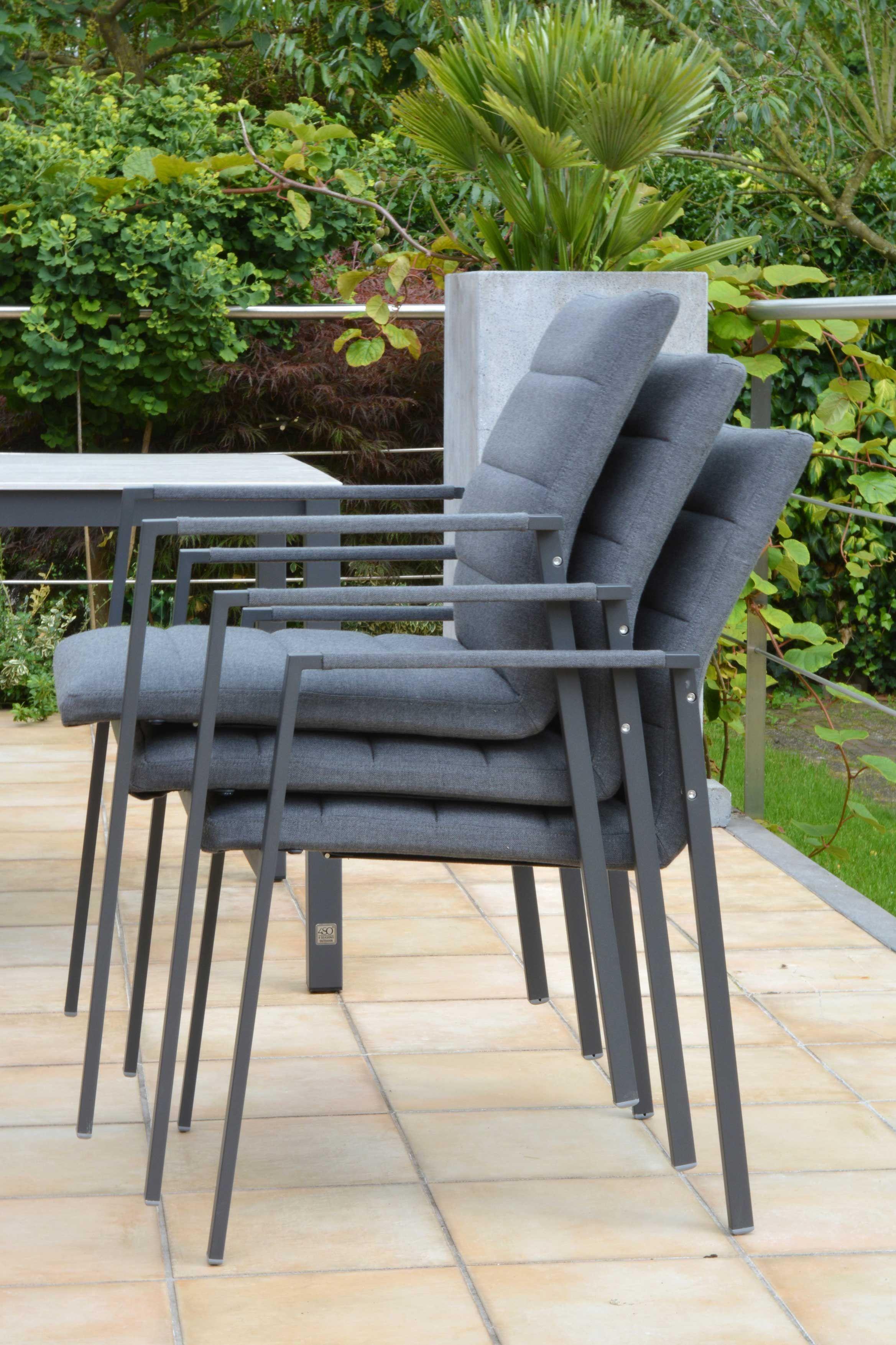 Chaises de jardin empilables avec siège et dossier rembourrés ...