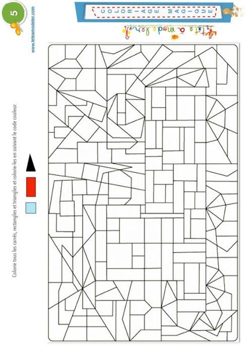Coloriage Magique 5 Triangles Carrés Et Rectangles