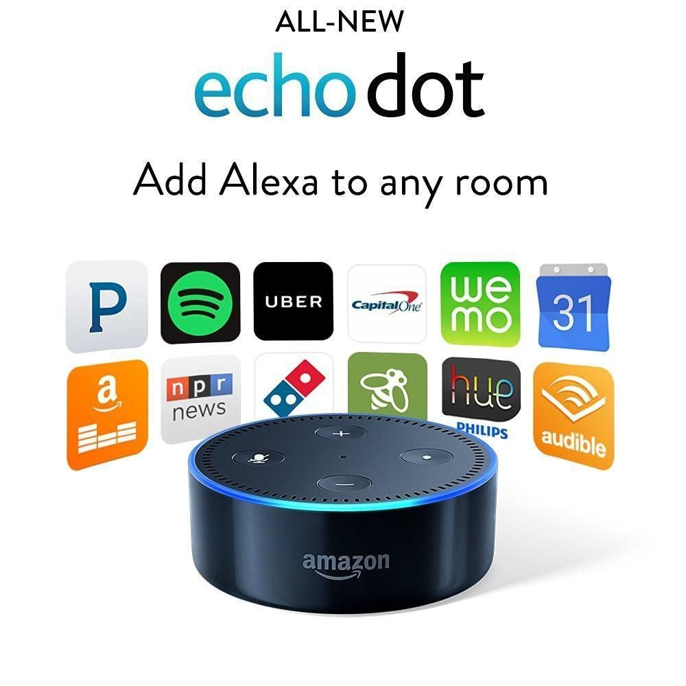 New Amazon Echo Dot 2nd Generation w// Alexa Voice Media Device black white