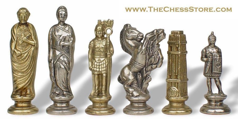 Chess.  Caesar Theme Chess Set Brass & Nickel by Italfama.  http://www.thechessstore.com/product/MS020MIT/Ceasar-Chess-Set.html